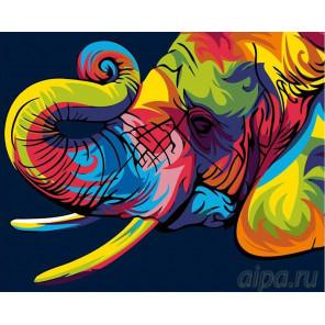 Радужный слон Раскраска картина по номерам на холсте PA06