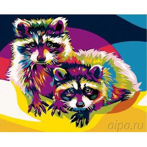 Радужные еноты Раскраска картина по номерам на холсте PA09