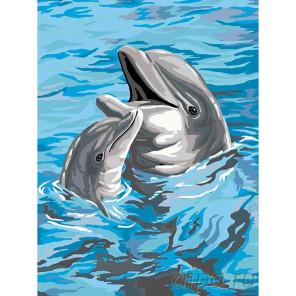 Дельфины Раскраска картина по номерам на холсте A287