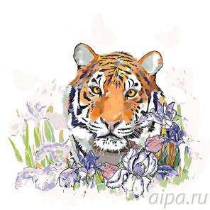 Тигрица в ирисах Раскраска по номерам на холсте Живопись по номерам A360