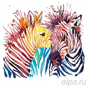 Радужные зебры Раскраска по номерам на холсте Живопись по номерам A361