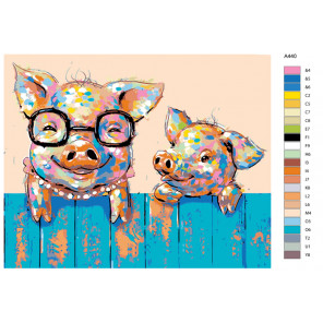 Раскладка Мама свинка Раскраска по номерам на холсте Живопись по номерам A440