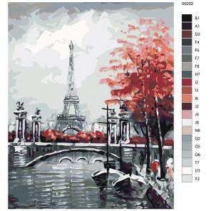 Раскладка Прогулка по Сене Раскраска по номерам на холсте Живопись по номерам KTMK-09202