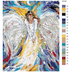 Схема Печальный ангел Раскраска по номерам на холсте Живопись по номерам KTMK-281361