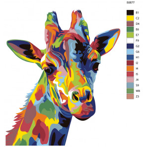 Схема Взгляд радужного жирафа Раскраска по номерам на холсте Живопись по номерам KTMK-50677