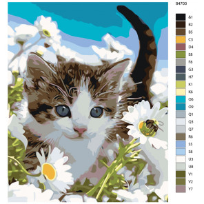 Схема Прогулка котенка Раскраска по номерам на холсте Живопись по номерам KTMK-84700