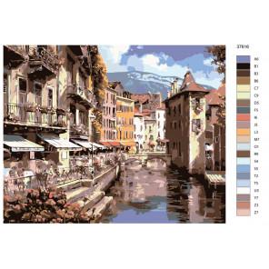 Раскладка Городской канал Раскраска по номерам на холсте Живопись по номерам KTMK-37616
