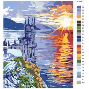 Раскладка Закат над Черным морем Раскраска по номерам на холсте Живопись по номерам RUS041
