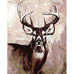 Раскладка Олень с ветвистыми рогами Раскраска картина по номерам на холсте A417