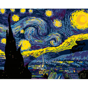 Раскладка Звезды в ночи Раскраска картина по номерам на холсте ARTH-43