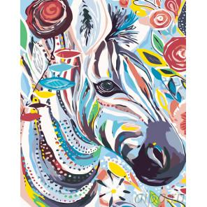 Красочная зебра Раскраска картина по номерам на холсте KTMK-63019
