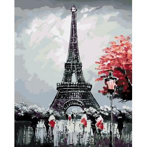 раскладка Черно-белый париж Раскраска картина по номерам на холсте