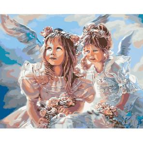 раскладка Ангелочки с цветами Раскраска картина по номерам на холсте
