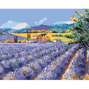 Раскладка Лавандовый пейзаж Раскраска по номерам на холсте Живопись по номерам KTMK-654181
