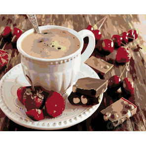 Кофе с ягодами Раскраска по номерам на холсте Живопись по номерам KTMK-001143