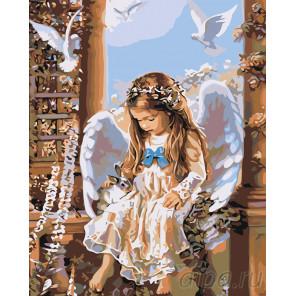 раскладка Малышка ангел Раскраска картина по номерам на холсте