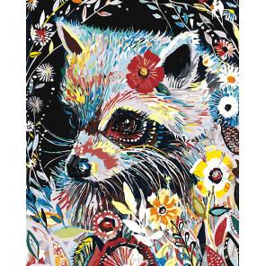 Енот в цветах Раскраска картина по номерам на холсте A481