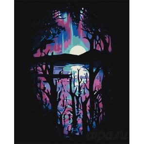 Фиолетовый закат Раскраска картина по номерам на холсте RA283