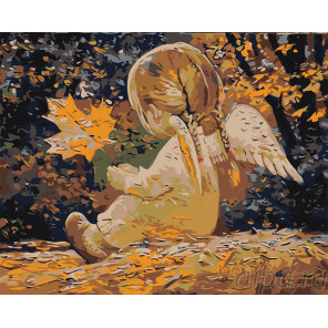 Раскладка Девочка ангелочек с листиком Раскраска картина по номерам на холсте RA291