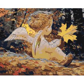 Раскладка Ангелочек с листиком Раскраска картина по номерам на холсте RA292