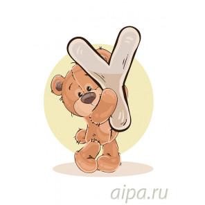 Медвеженок с буквой Y Раскраска по номерам на холсте Живопись по номерам KTMK-898989