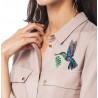 Пример вышитой работы Радужная птичка Набор для вышивания на водорастворимой канве Овен 1227