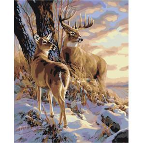 Макет Закат в зимнем лесу Раскраска картина по номерам на холсте A604-100x125