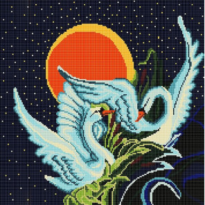 Пример оформления в рамку Лебеди Ткань с рисунком Божья коровка 0004