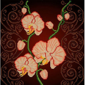 Орхидея бежевая Ткань с рисунком Божья коровка 0030