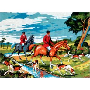 Всадники Канва жесткая с рисунком для вышивки Gobelin L