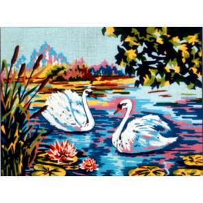 Лебеди Канва жесткая с рисунком для вышивки Gobelin L