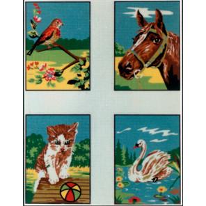 Детские сюжеты, 4 картинки Канва жесткая с рисунком для вышивки Gobelin L