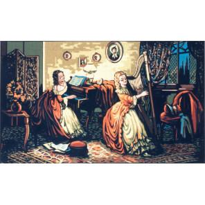 Девушка с арфой Канва жесткая с рисунком для вышивки Gobelin L