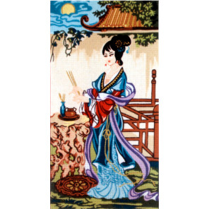 Китаянка в синем Канва жесткая с рисунком для вышивки Gobelin L