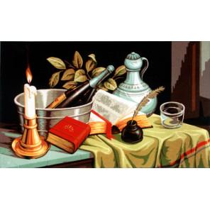 Натюрморт со свечей Канва жесткая с рисунком для вышивки Gobelin L