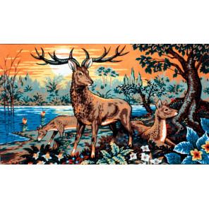 Олень с олененком Канва жесткая с рисунком для вышивки Gobelin L