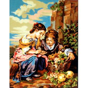Девушки с корзиной винограда Канва жесткая с рисунком для вышивки Gobelin L