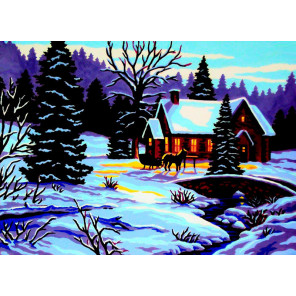 Время года зима Канва жесткая с рисунком для вышивки Gobelin L