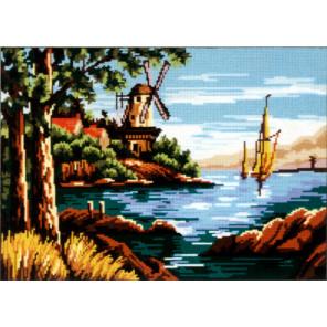 Мельница на реке Канва жесткая с рисунком для вышивки Gobelin L