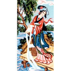Китаянка у реки Канва жесткая с рисунком для вышивки Gobelin L