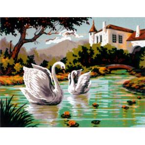 В тихой заводи лебеди Канва жесткая с рисунком для вышивки Gobelin L