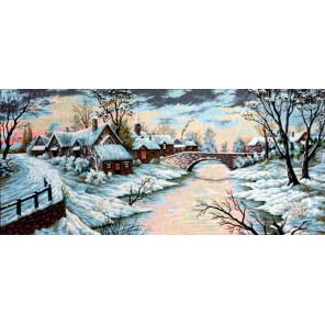 Зимняя речка Канва жесткая с рисунком для вышивки Gobelin L