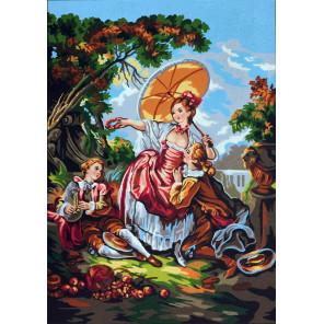 Дама с зонтиком Канва жесткая с рисунком для вышивки Gobelin L