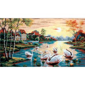 Лебединый пруд Канва жесткая с рисунком для вышивки Gobelin L