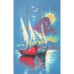 Алый кораблик Канва жесткая с рисунком для вышивки Gobelin L