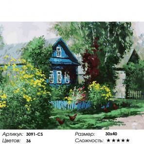 Сложность и количество цветов Домик в деревне Раскраска картина по номерам на картоне Белоснежка 3091-CS
