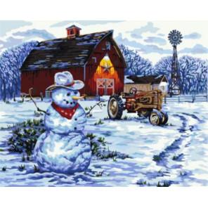 Снеговик за городом Раскраска картина по номерам на холсте Z-GX8474