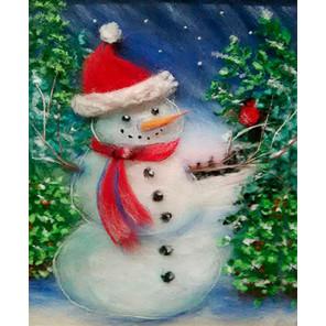 Снеговик Картина из шерсти с рамкой SH021