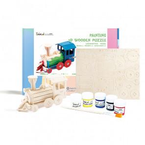 Паровоз Деревяный 3Д пазл с красками HC251