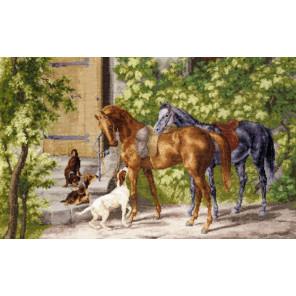 Пример вышитой работы в рамке Лошади у крыльца Набор для вышивания Золотое Руно ОО-004